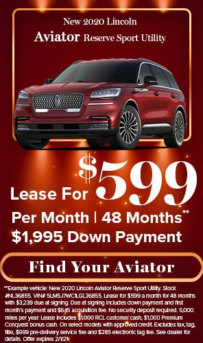 New 2020 Lincoln Aviator Reserve Sport Utility - Lease