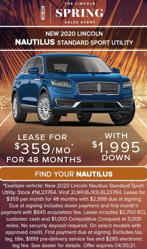 New 2020 Lincoln Nautilus Standard Sport Utility - LEASE