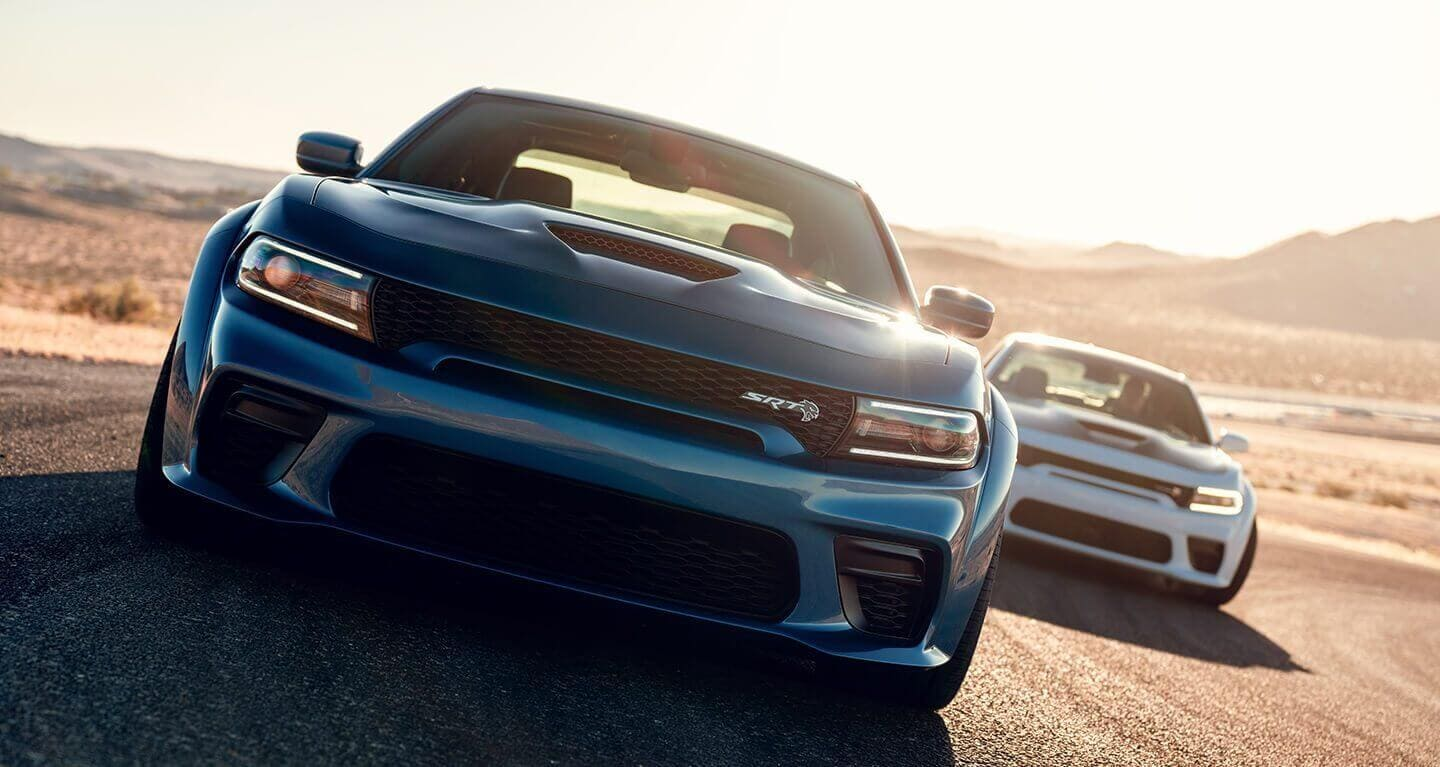 Dodge Chargers on a track
