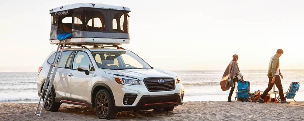 2019 Subaru Forester With Crystal White Pearl Tent on Roof Rack