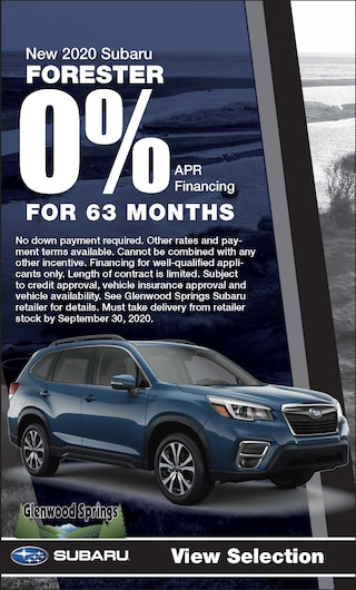 0% APR Financing for 63 mos. on a new 2020 Forester