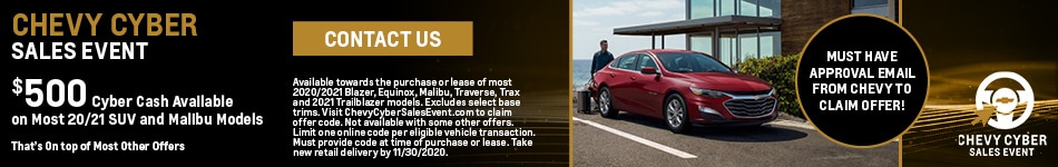 2020-2021 Select Models - Chevy Cyber Sales Event