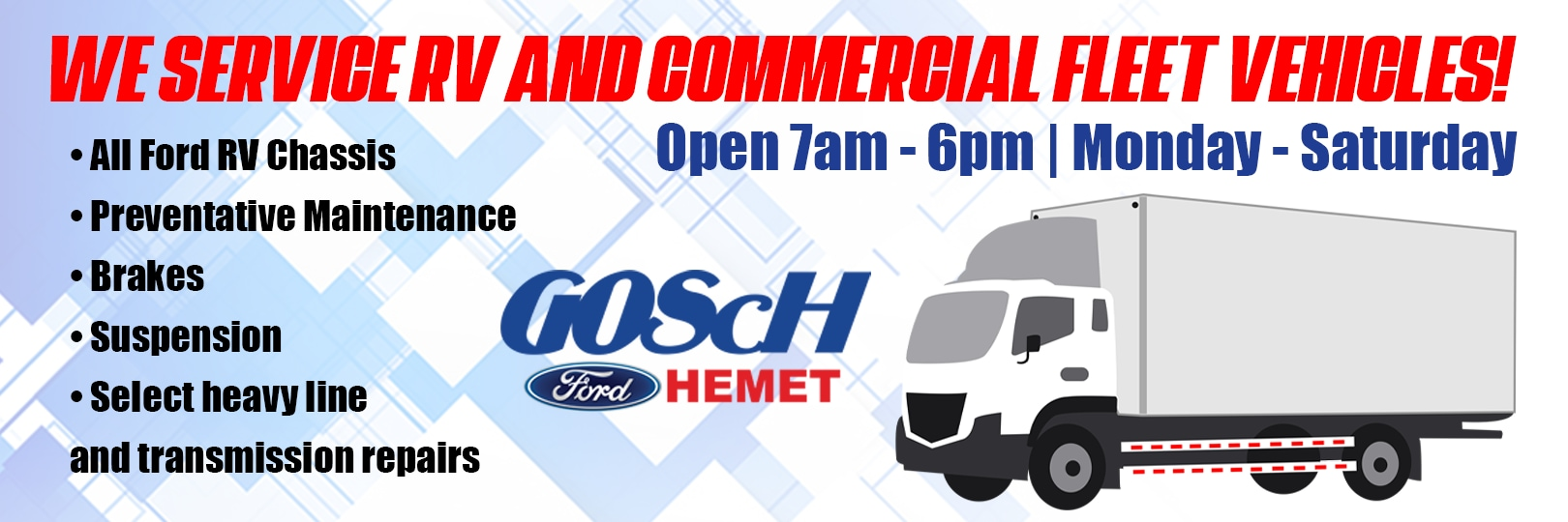 Gosch ford Hemet rv commercial fleet vehicle banner