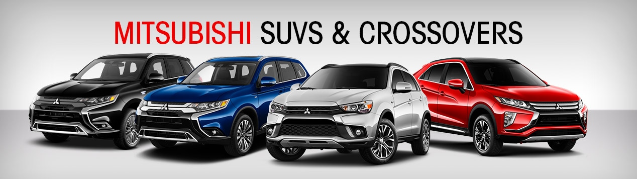 The full lineup of Mitsubishi crossover SUVs at Gossett Mitsubishi in Memphis, Tennessee