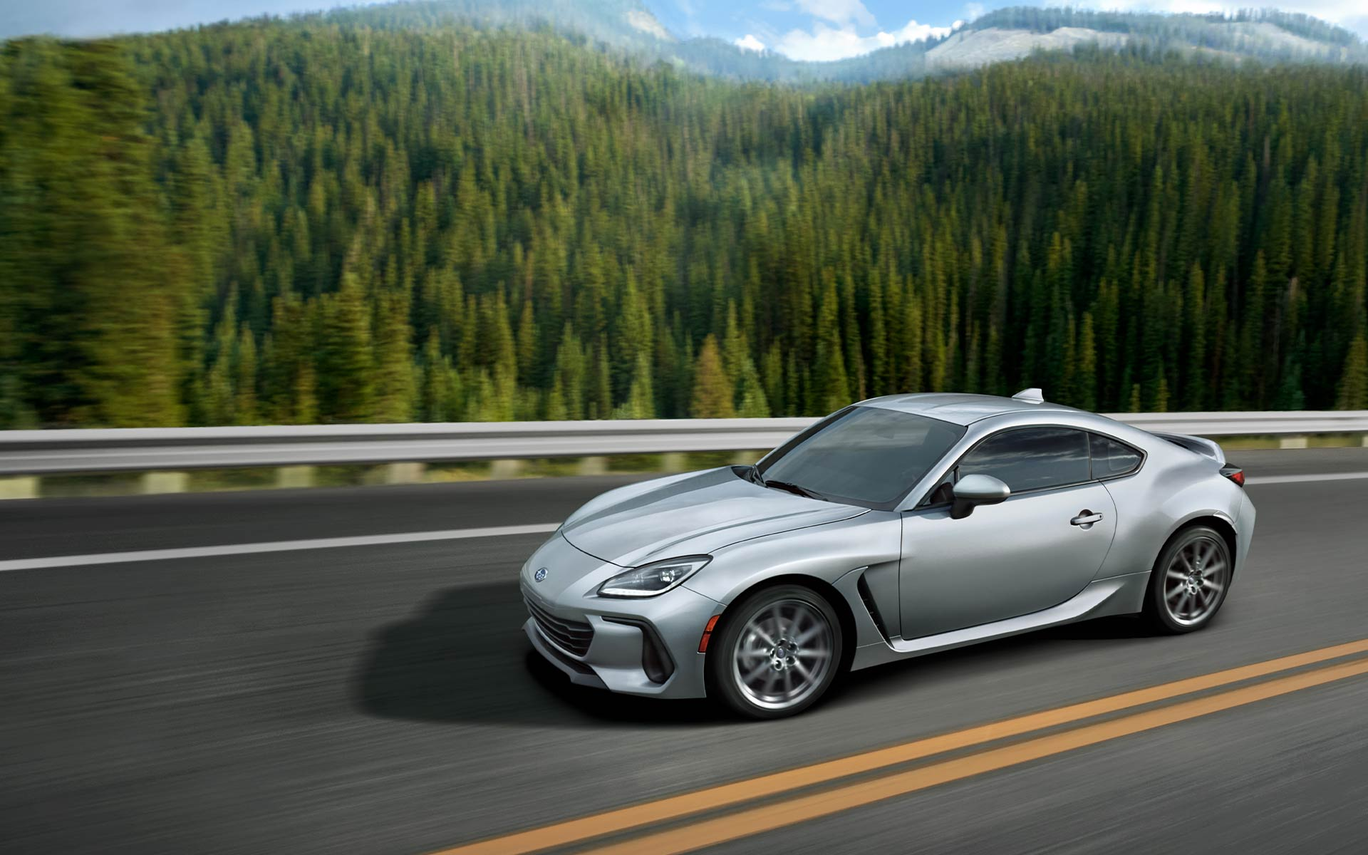 2022 Subaru BRZ driving down the road