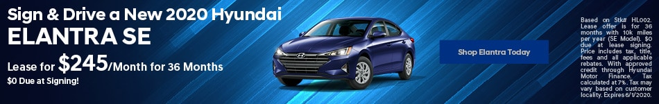 Sign & Drive a New 2020 Hyundai Elantra SE - May