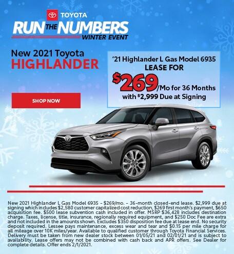 New 2021 Toyota Highlander - Jan