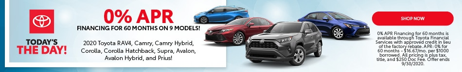 0% APR FINANCING FOR 60 MONTHS ON 9 MODELS! - Sept