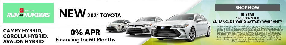 New 2021 Toyota Camry Hybrid, Corolla Hybrid, Avalon Hybrid - April