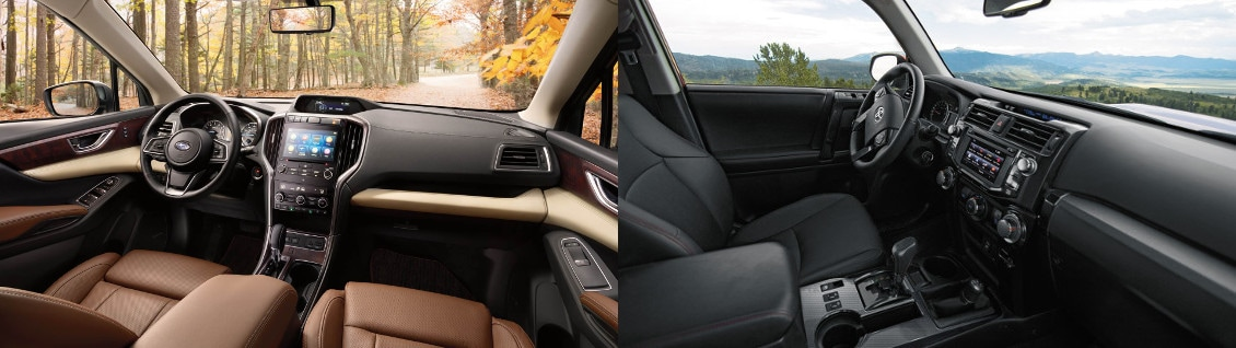 2019 Subaru Ascent and 2018 Toyota 4Runner Interior side by side image