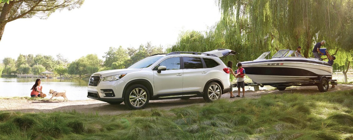 2019 Subaru Ascent towing a boat