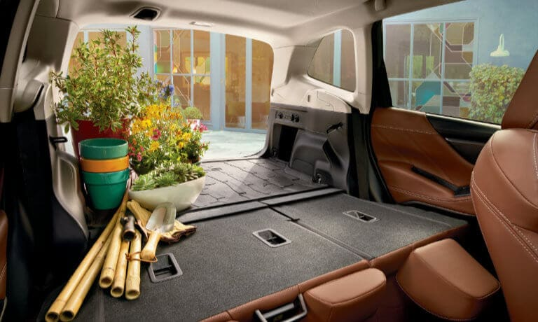 2020 Subaru Forester interior rear view with gardening supplies