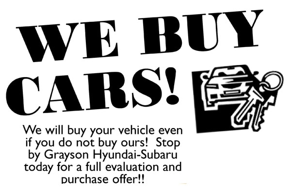 We buy cars, sell Grayson Subaru your used vehicle
