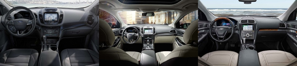 Ford Escape Ford Edge Ford Explorer Interior Side By Side Comparison