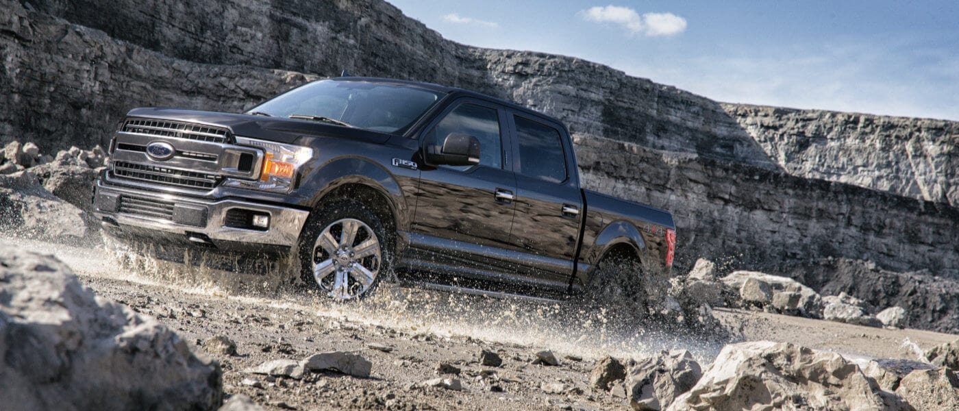 A black 2019 Ford F-150 on dirt