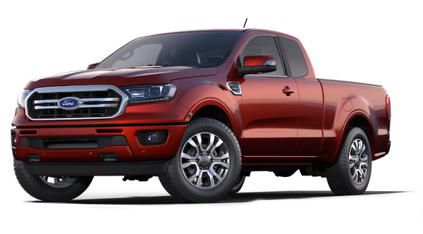 A Hot Pepper Red 2019 Ford Ranger on a transparent background