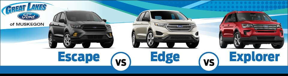 Ford Escape vs. Ford Edge vs. Ford Explorer side by side comparison image