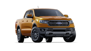 An Orange 2019 Ford Ranger on a Transparent background