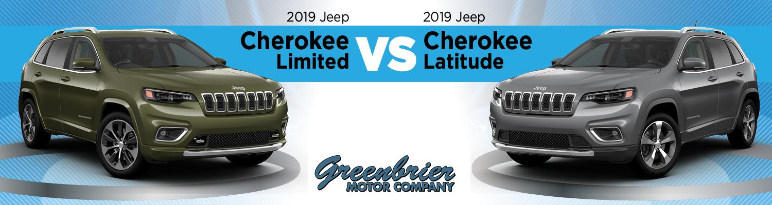 2019 Jeep Cherokee Limited trim and 2019 Jeep Cherokee Latitude trim