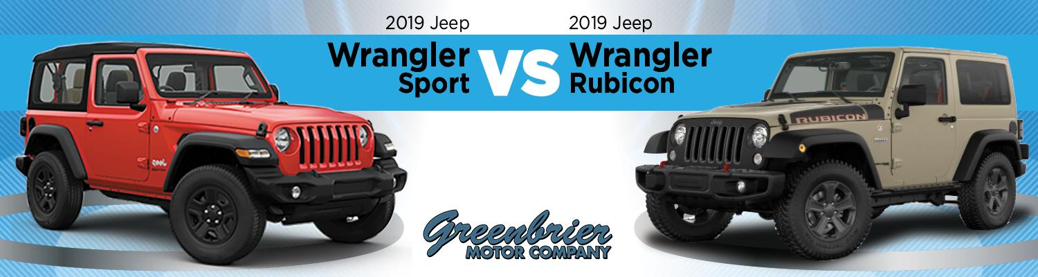 2019 jeep wrangler sport and 2019 jeep wrangler rubicon trims comparison image id=