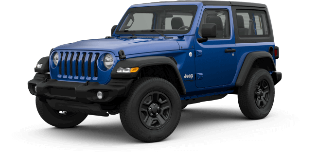 image of the 2019 Jeep Wrangler Sport trim in blue color against a transparent background