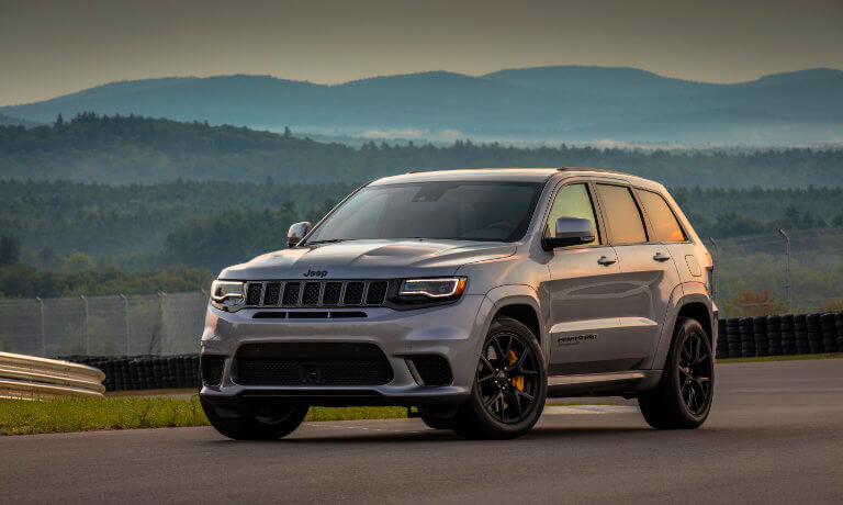 Gray 2020 Jeep Grand Cherokee on a racetrack