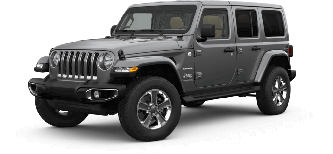 image of the 2019 Jeep Wrangler Sahara trim in gray color against a transparent background