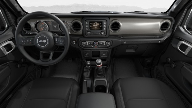 interior of 2019 Jeep Wrangler Sport