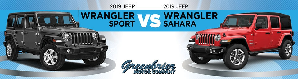 2019 Jeep Wrangler Sport vs. Sahara comparison image