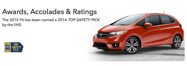 The 2015 Fit Earned An Esteemed 2014 TOP SAFETY PICK Rating From The  Insurance Institute For Highway Safety (IIHS ). The Fit Is Only The Second  Car In Its ...
