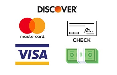 Discover card, mastercard, visa, check and cash