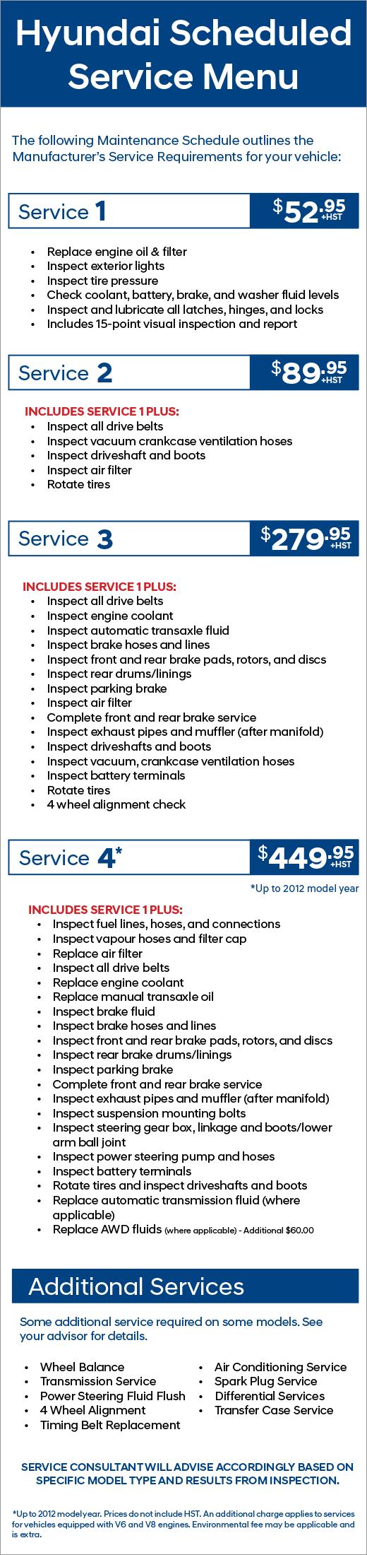 Hyundai Scheduled Service Menu