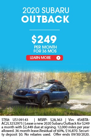 LEASE A 2020 SUBARU OUTBACK FOR $249 A MONTH