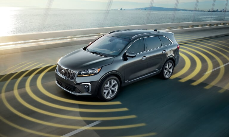 2020 Kia Sorento Exterior Driving On The Highway With Collision Sensors