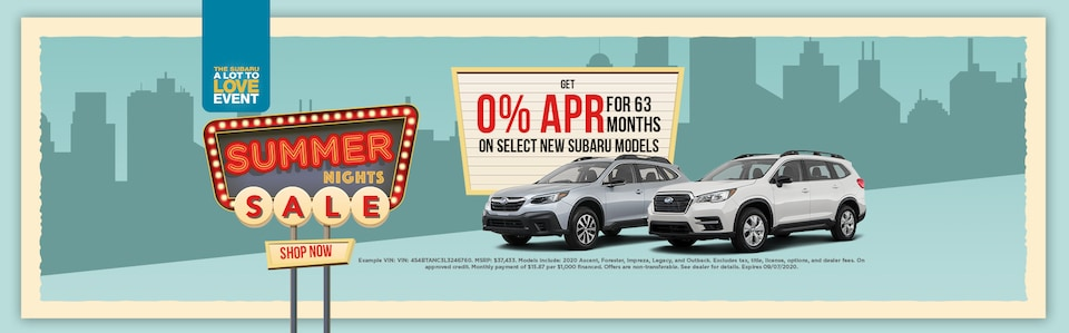 Get 0% APR for 63 months on Select New Subaru Models