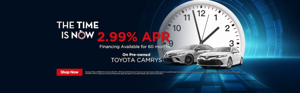 2.99% APR for 60-Months On Pre-owned Toyota Camrys