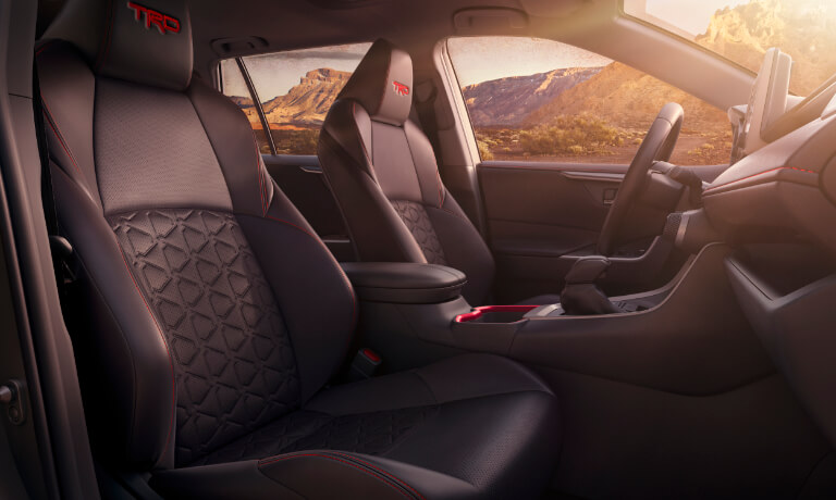 2020 RAV4 interior showing front seat fron the passanger side in black