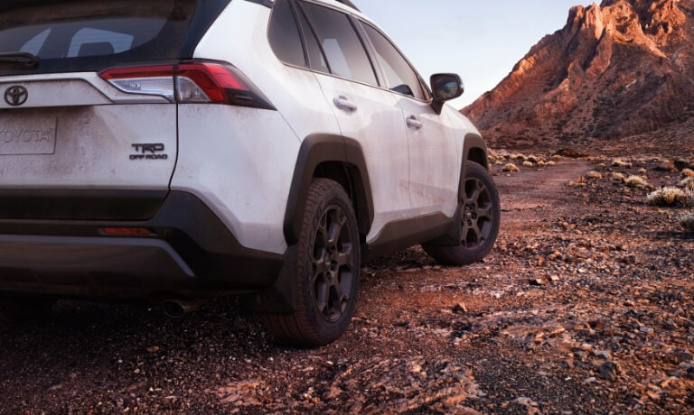 2020 Rav4 in white exterior close up of the rear