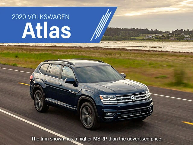 2020 Volkswagen Atlas. The trim shown has a higher MSRP than the advertised price.
