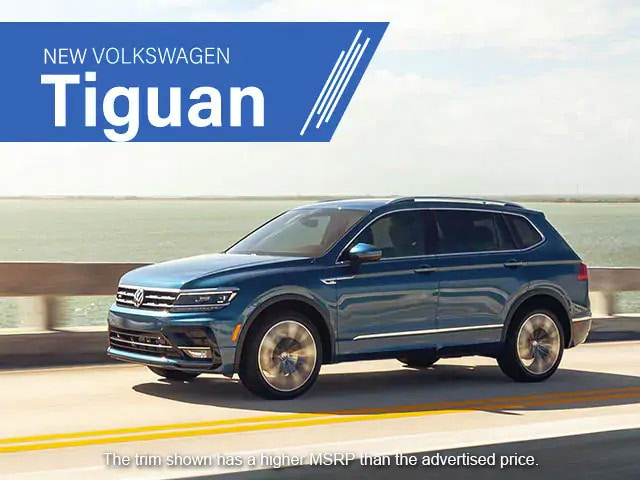 2021 VW Tiguan. The trim shown has a higher MSRP than the advertised price.