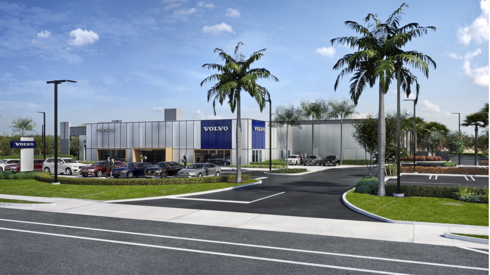 storefront of new and used volvo dealership in delray beach, florida