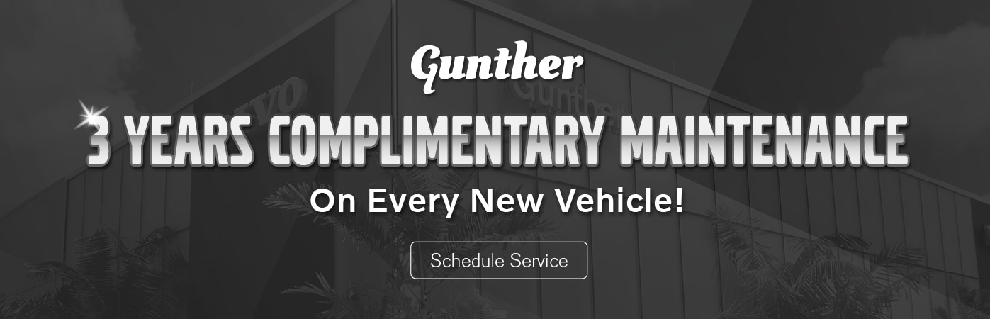 Gunther 3 years complimentary maintenance on every new vehicle. Click here to schedule service.