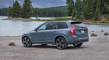 exterior view of the new 2020 volvo xc90 parked by the lake