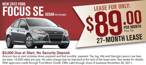 new 2012 ford focus lease special new ford cars for sale duluth ga. Black Bedroom Furniture Sets. Home Design Ideas