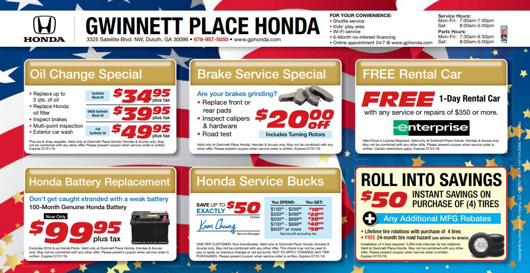 There Is No Need To Compromise On Quality Or Affordability  Enjoy Both With  Our Honda Service Specials Here At Gwinnett Place Honda