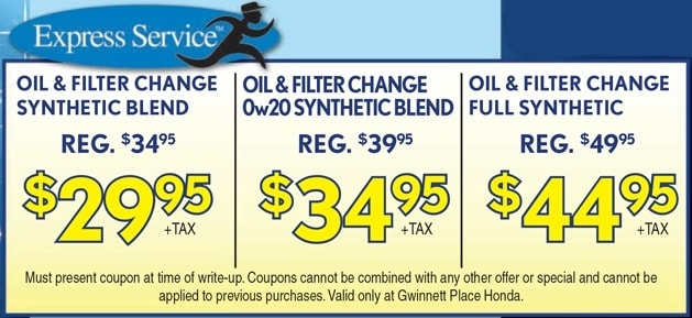 Honda service specials gwinnet place honda duluth near for Honda oil change printable coupon