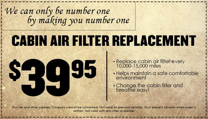 Cabin Air Filter Special