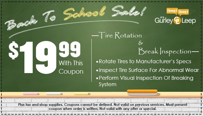 $19.99 Tire Rotation & Break Inspection