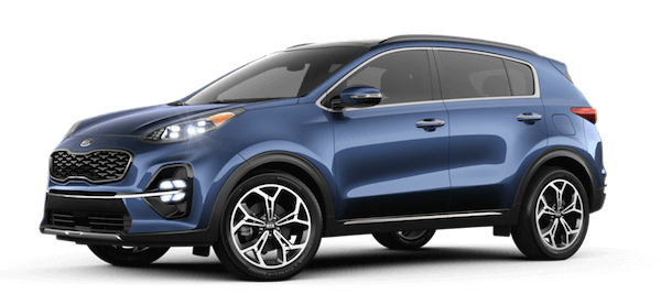 A blue 2020 Kia Sportage SX Turbo