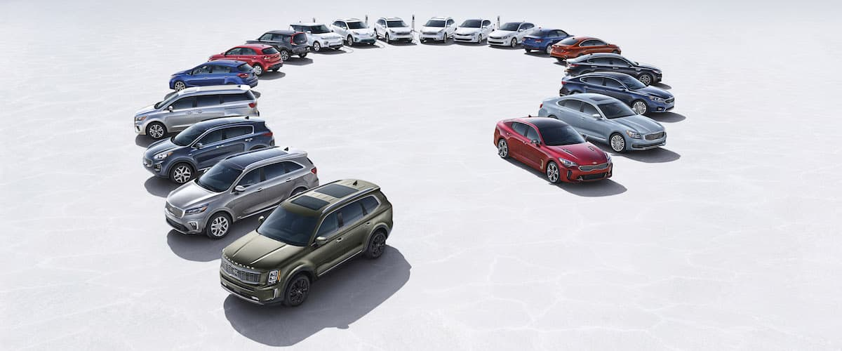The entire Kia model lineup parked in a circle
